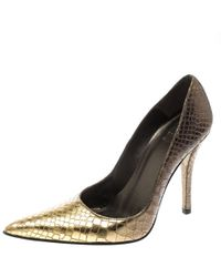 28cb0198efc2d Stuart Weitzman - Two Tone Python Embossed Leather Pointed Toe Pumps - Lyst