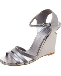 8105b66cf842c0 Chanel - Silver Leather Ankle Strap Faux Pearl Embellished Wedge Sandals -  Lyst