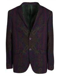 Etro - Paisley Printed Wool Notched Collar Superleggera Blazer Xl - Lyst