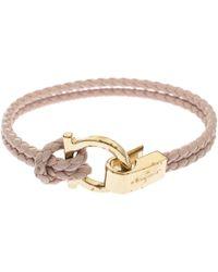 Ferragamo - Gancin Pink Braided Cord Gold Tone Bracelet - Lyst