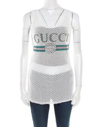 d78e7303399b8 Gucci - Off White Perforated Cotton Knit Logo Printed Tank Top M - Lyst