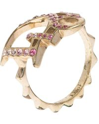 Dior - Pink Crystal Studded Logo Tone Ring - Lyst