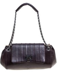 e117b746d7d22c Chanel - Burgundy Leather Accordion Vintage Vertical Quilted Flap Bag - Lyst