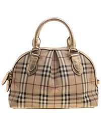 de46c7d048ba Burberry - Haymarket Check Pvc And Leather Thornley Bowling Bag - Lyst