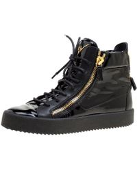 53904ebcdf75 Giuseppe Zanotti  lorenz  Suede Fur High Top Wedge Sneakers in Blue ...