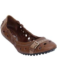 484dc682f2 Tod's - Brown Leather Scrunch Ballet Flats Size 36 - Lyst