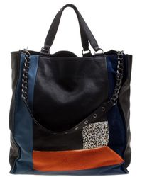 Longchamp - Mutlicolor Leather And Calfhair Patchwork Tote - Lyst 87a1d792d093b