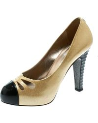 d139e802218 Chanel - Metallic Gold Patent Leather Iridescent Cap Toe Platform Pumps  Size 37 - Lyst