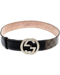 3ed7583dfa5 Gucci - Beige GG Supreme Coated Canvas And Leather Interlocking GG Buckle  Belt 85 Cm -
