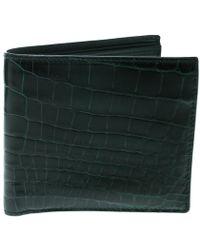 Bottega Veneta - Green Crocodile Bi Fold Wallet - Lyst
