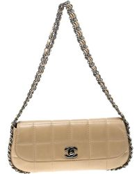 3181bf51999d Chanel - Leather Triple Chain Chocolate Bar Flap Shoulder Bag - Lyst