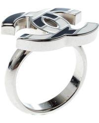 Chanel - Cc Monochrome Enamel Tone Ring - Lyst