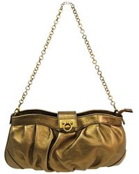 Ferragamo - Leather Chain Clutch Bag - Lyst