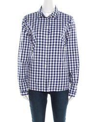 31a7d1be Burberry - Brit Blue And White Gingham Check Cotton Long Sleeve Shirt L -  Lyst