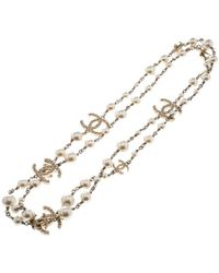 Chanel - Cc Faux Pearl Gold Tone Chain Link Belt - Lyst