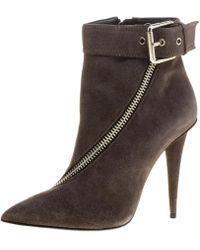 Giuseppe Zanotti - Dark Suede Asymmetrical Zip Ankle Boots - Lyst