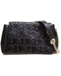 Carolina Herrera - Nubuck And Monogram Leather Shoulder Bag - Lyst