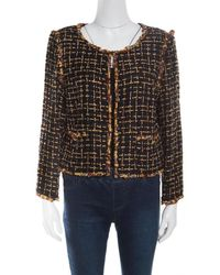 Chanel - Textured Beaded Edging Detail Cropped Boucle Jacket L - Lyst