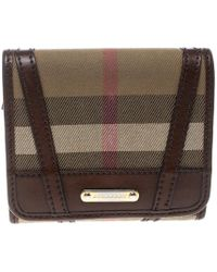 Burberry - Brown Bridle House Check Fabric Leighton Wallet - Lyst