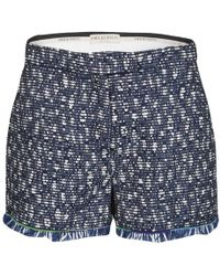 Emilio Pucci Navy Blue And Whte Textured Fringed Bottom Shorts M