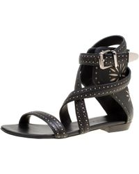19843d447 Barbara Bui - Black Laser Cut Motif Perforated Leather Ankle Cuff Strappy Flat  Sandals Size 37