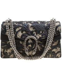 a75f61db36ff Gucci - Beige/black GG Supreme Canvas And Leather Small Dionysus Arabesque  Shoulder Bag -