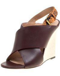 71ca994884c Céline -  multicolor Leather And Python Slingback Wedge Sandals - Lyst