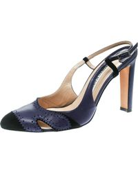 e62e4152ba7 Manolo Blahnik - Leather And Black Suede Cap Toe Barrie Spectator Slingback  Sandals - Lyst