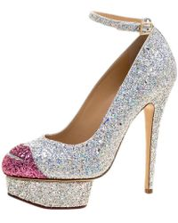 Charlotte Olympia - Silver Coarse Glitter Kiss Me Dolores! Ankle Strap Platform Court Shoes Size 40 - Lyst