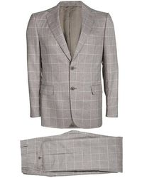 Ferragamo - Checked Wool Slim Fit Derby Pant Suit L - Lyst