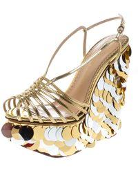 Charlotte Olympia - Gold Leather Poseidon Disc Embellished Wedge Platform Sandals - Lyst