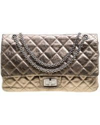 846088c6f300 Lyst - Chanel Metallic Quilted Leather 227 Reissue 2.55 Flap Bag in ...