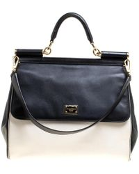 Dolce & Gabbana - Off /black Leather Large Miss Sicily Top Handle Bag - Lyst