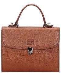 Burberry Brown Leather Top Handle Bag