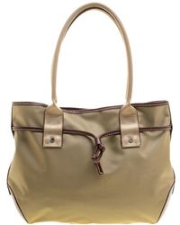 Lancel - And Brown Nylon And Leather Tote - Lyst
