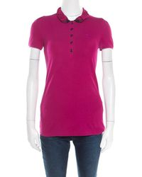 5ea1a1639ce7 Burberry - Brit Magenta Pink Cotton House Check Collar Polo T-shirt Xs -  Lyst