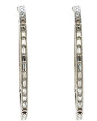 Chanel - Cc Crystal Encrusted Tone Hoop Earrings - Lyst