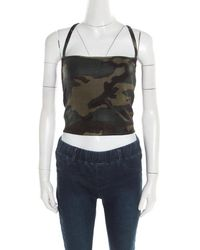 Dior - Christian Green Metallic Camouflage Print Cropped Halter Top M - Lyst