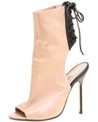 Manolo Blahnik Two Tone Leather Bellanto Cut Out Peep Toe Booties Size 37 - Natural