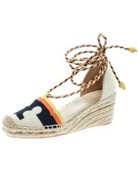 9112ef44c6c Tory Burch - Multicolor Canvas And Nubuck Laguna Espadrille Wedge Sandals  Size 35 - Lyst