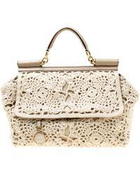bdfe829f6748 Dolce   Gabbana - Dolce   Gabbana Off  beige Crochet Fabric Large Miss  Sicily Top