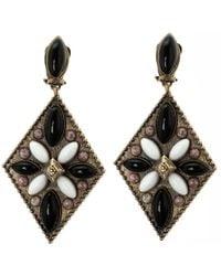 Etro - Tibetan Cabochon Gold Tone Rhombus Clip-on Dangle Earrings - Lyst