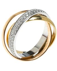 Cartier - Trinity De Diamond & 18k Three Tone Gold Rolling Ring Size 48 - Lyst