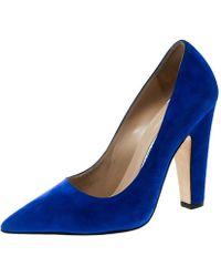 Manolo Blahnik - Royal Blue Suede Alba Pointed Toe Pumps Size 38 - Lyst