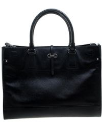 Lyst - Ferragamo Leather Bice Tote in Natural ace170ab45c09