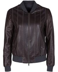 Brunello Cucinelli - Brown Leather Embellished Zip Front Bomber Jacket S - Lyst