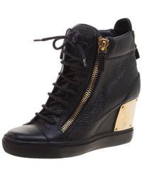Giuseppe Zanotti - Black Leather Hidden Wedge Trainers Size 36 - Lyst