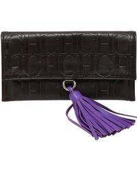 Carolina Herrera - Dark Monogram Leather Tassel Clutch - Lyst
