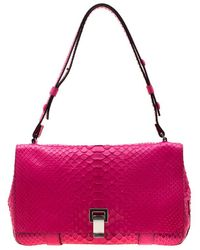 Proenza Schouler Dark Pink Python Courier Shoulder Bag