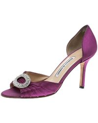 Manolo Blahnik - Fuchsia Pleated Satin Sedaraby D'orsay Pumps - Lyst